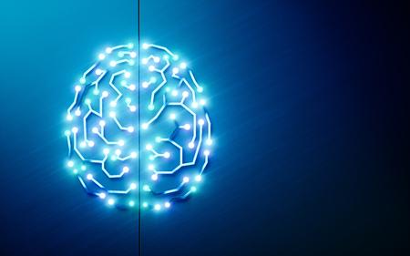 プリント回路脳。人工知能、ディープラーニング、機械学習、青い背景にスマート自律ロボット技術の概念。テキストの混乱に適しています。3D レンダリング 写真素材