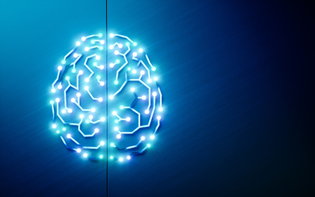 プリント回路脳。人工知能、ディープラーニング、機械学習、青い背景にスマート自律ロボット技術の概念。テキストの混乱に適しています。3D レ 写真素材