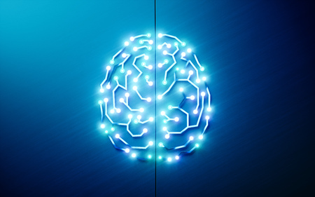 Printed circuits brain. Concept of artificial intelligence, deep learning, machine learning, smart autonomous robotic technology on blue background. 3d rendering Foto de archivo
