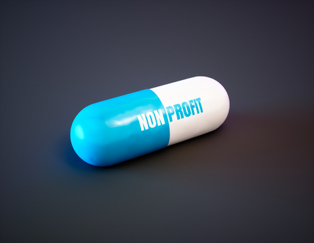 Non profit drugs concept. Blue pill with text on black background. 3d illustration.