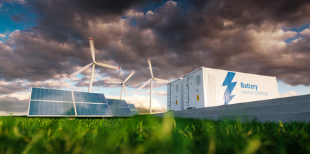 Concept of energy storage system. Renewable energy - photovoltaics, wind turbines and Li-ion battery container in fresh nature. 3d rendering. Foto de archivo