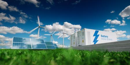 Concept van energieopslagsysteem. Hernieuwbare energie - fotovoltaïsche zonne-energie, windturbines en Li-ion batterijcontainer in verse natuur. 3D-weergave.