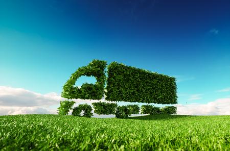 Umweltfreundliches Transportkonzept. 3D-Darstellung der grünen grünen LKW-Ikone auf frischer Frühlingswiese mit blauem Himmel im Hintergrund. Standard-Bild