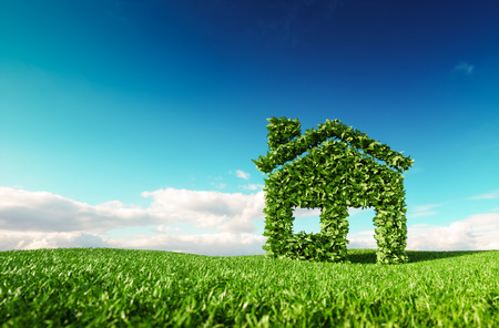 Eco friendly living concept. 3d rendering of green house icon on fresh spring meadow with blue sky in background.