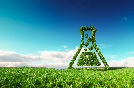 Écologique, bio, pas de déchets, zéro pollution, agriculture sans pesticide ou / et concept de biocarburant. Rendu 3D de l'icône de pouce en l'air sur la prairie de printemps frais avec un ciel bleu en arrière-plan.