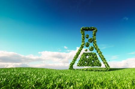 Ecológico, bio, sin residuos, cero contaminación, agricultura libre de pesticidas y / y concepto de biocombustible. Representación 3D del icono de los pulgares arriba en la pradera de primavera fresca con el cielo azul de fondo.