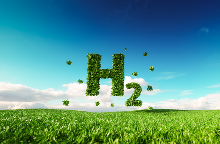 Eco friendly clean hydrogen energy concept. 3d rendering of hydrogen icon on fresh spring meadow with blue sky in background.
