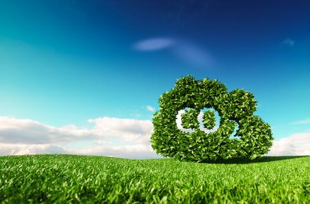 Konzept zur Kontrolle der Kohlendioxidemissionen. 3D-Wiedergabe der CO2-Wolke auf frischer Frühlingswiese mit blauem Himmel im Hintergrund.