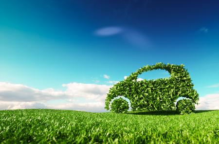 Desarrollo de automóviles ecológicos, conducción ecológica clara, sin contaminación y concepto de transporte de emisiones. Representación 3D del icono de coche verde en la pradera de primavera fresca con cielo azul de fondo. Foto de archivo