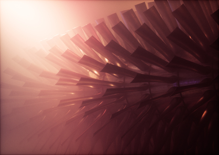 Red industrial steam turbine / engine rotor with blades in warm foggy environment. 3d illustration.