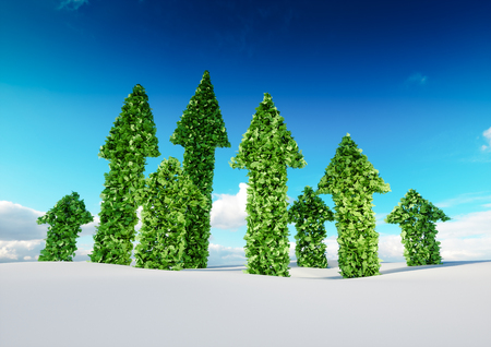 Sustaining eco growth and sustainable development concept. 3d illustration of green leaf arrows growing from white snow field and pointing upward to blue sky.  Foto de archivo
