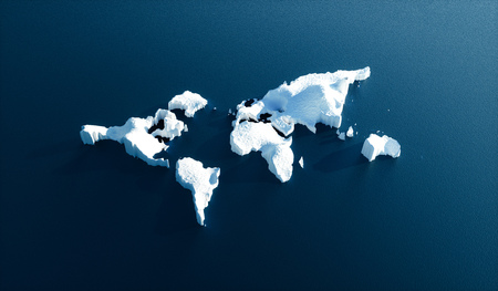 Effect of global warming in nature. Conceptual image of melting world shaped glacier in deep blue water. 3d illustration.
