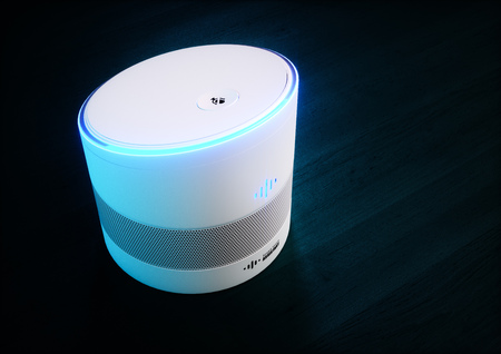 Home intelligent voice activated assistant. 3D rendering concept of white hi tech futuristic artificial intelligence speech recognition technology on dark blue wood background. Ultrawide image.