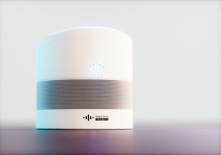 Home intelligent voice activated assistant. 3D rendering concept of white hi tech futuristic artificial intelligence speech recognition technology on light soft purple background.