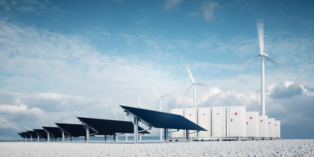 photorealistic futuristic concept of renewable energy storage consisting of modern, aesthetic and efficient dark solar panel panels that are in pleasant contrast to the blue summer sky and white gravel on the ground, a modular battery energy storage system and a wind turbine system in the background. 3d rendering Foto de archivo