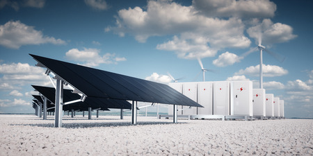 photorealistic futuristic concept of renewable energy storage consisting of modern, aesthetic and efficient dark solar panel panels that are in pleasant contrast to the blue summer sky and white gravel on the ground, a modular battery energy storage system and a wind turbine system in the background. 3d rendering 版權商用圖片