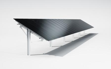 Futuristic, modern and aesthetic black monocrystalline solar panel system on white background. 3d illustration.