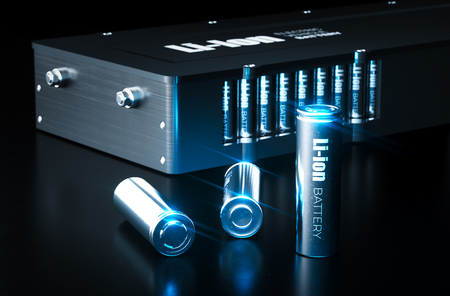 Concepto moderno de tecnología de batería de iones de litio. Celdas de batería de iones de litio de metal con paquete de batería de vehículo eléctrico sobre fondo negro. Ilustración 3D.