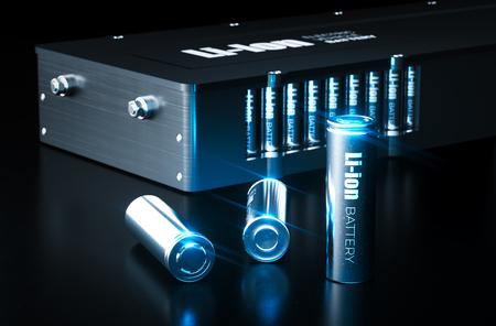 Modernes Konzept der Lithium-Ionen-Batterietechnologie. Metall-Lithium-Ionen-Batteriezellen mit Elektrofahrzeug-Akku auf schwarzem Hintergrund. 3D-Darstellung.