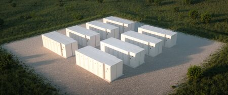 Concept of renewable energy battery storage system in nature. Drone isometric view. 3d rendering Foto de archivo