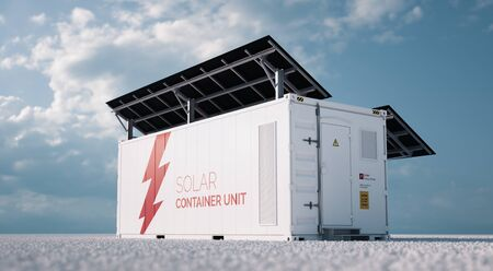 Solar container unit. 3d rendering concept of a white industrial battery energy storage container with mounted black solar panels situated on white gravel in empty landscape in sunny weather. Foto de archivo