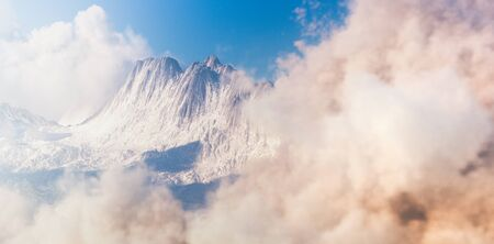 Aerial view of morning moutain landscape with clouds in forereground and background. 3d rendering.