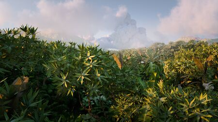 Vibrant  fantasy rainforest in morning light with distant mountains misty and clouds in background. 3d illustration. Foto de archivo
