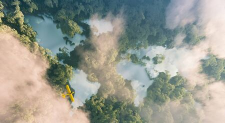 Aerial view of misty rainforest lakes in shape of world continents in dense jungle vegetation in beautiful late evening light. 3d rendering Foto de archivo