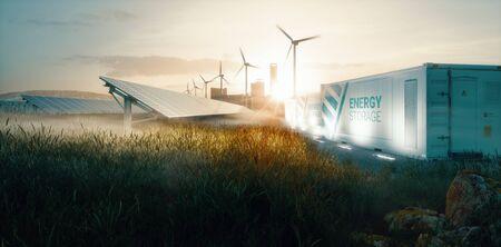 Smart grid-systeemoplossing voor hernieuwbare energie voor toekomstige slimme steden bij zonsondergang. 3D-rendering