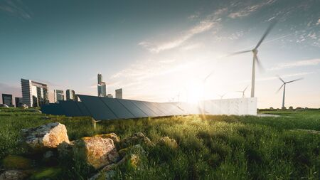 Concept of sustainable energy solution in beautifull sunset backlight. Frameless solar panels, battery energy storage facility, wind turbines and big city with skycrapers in background. 3d rendering. Foto de archivo