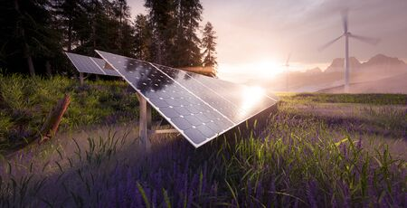 Environmentally friendly installation of photovoltaic power plant and wind turbine farm situated in beautiful fresh mountain scenery with nice warm morning light. 3d rendering.