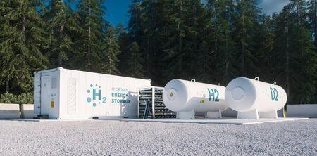 Umweltfreundliche Lösung für die Speicherung erneuerbarer Energie - Wasserstoffgas für saubere Elektrizitätsanlage in Waldumgebung. 3D-Rendering. Standard-Bild
