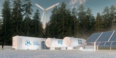 Konzept der Wasserstoffspeicherung aus erneuerbaren Quellen - Windkraftanlagen und Photovoltaik. 3D-Rendering Standard-Bild