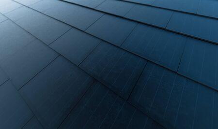 Solar roof concept. Building-integrated photovoltaics system consisting of modern monocrystal black solar roof tiles. 3d rendering. Foto de archivo