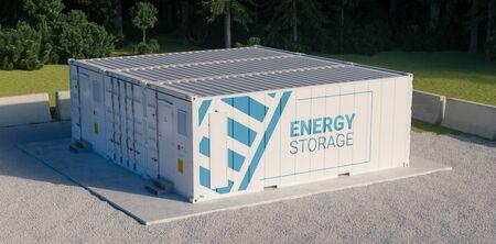 Concept energieopslageenheid bestaande uit meerdere aaneengesloten containers met batterijen. 3D-verkleuring. Stockfoto