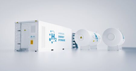 Renewable energy storage - hydrogen gas to clean electricity facility situated on white background. 3d rendering. Foto de archivo