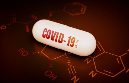 Concept of a covid-19 coronavirus cure. 3d rendering of a pill on a hi tech red background with chemical formula.