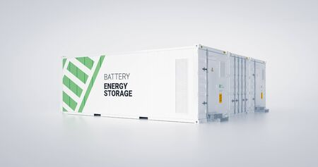 Concept of energy storage unit - multiple conected containers with batteries. 3d rendnering. Foto de archivo