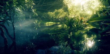 Jungle paradise concept. Deep and dense rainforest vegetation with pond and beautiful sunlight. 3d rendering.
