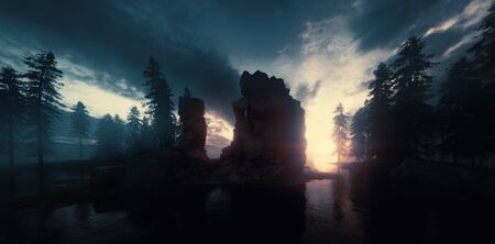 Sunset and twilight over lake and forest wilderness. 3d rendering. Foto de archivo