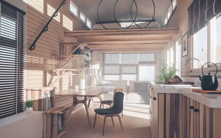 Rustic tiny house interior design with kitchen, living room and bedroom in mezzanine floor in warm sunset light. 3d rendering.