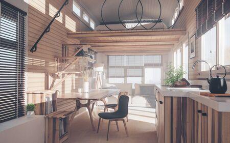 Rustic tiny house interior design with kitchen, living room and bedroom in mezzanine floor in warm sunset light. 3d rendering. Foto de archivo