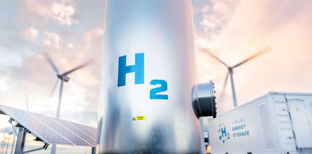 Hydrogen energy storage gas tank with solar panels, wind turbine and energy storage container unit in background. 3d rendering.