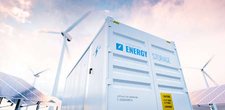 Conceptual image of a modern battery energy storage system with wind turbines and solar panel power plants in background. 3d rendering Foto de archivo