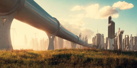 The concept of travelling by hyperloop - a tube leading to a futuristic city illuminated by a beautiful golden evening atmosphere. 3d rendering.