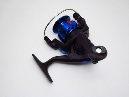 Blue reel, sport fishing, spinning motor.