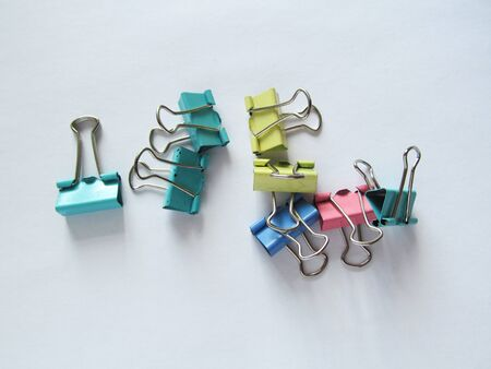 multicolored paper clips, binding binders for the office