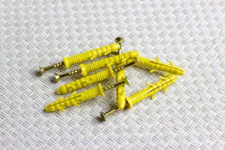 Ancre pour le montage d'objets muraux. Vis pour les réparations du boîtier.