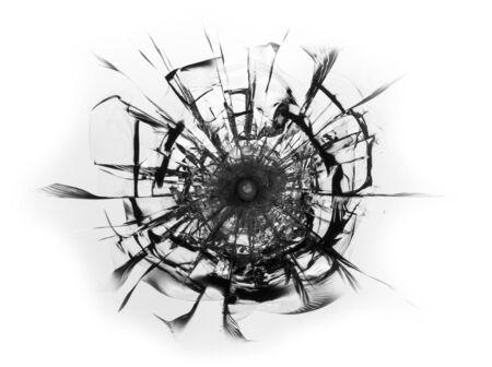 Cracked glass broken window on white background. Texture of broken windscreen.