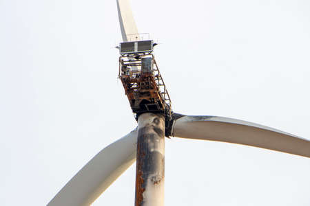 Fire on the wind generator due to a short circuit, accident on the wind turbine of the electric generator.